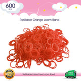 600 Refillable Orange Rubber Loom Band For Kids Child Handmade Toy DIY