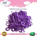 600 Refillable Purple Rubber Loom Band For Kids Child Handmade Toy DIY