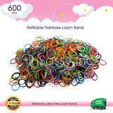 600 Refillable Rainblow Rubber Loom Band For Kids Child Handmade Toy DIY