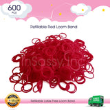 600 Refillable Red Rubber Loom Band For Kids Child Handmade Toy DIY