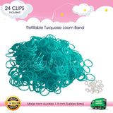 600 Refillable Turquoise Rubber Loom Band For Kids Child Handmade Toy DIY