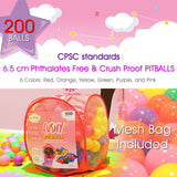 "200 2.5"" 6.5 cm Phthalates Free Crush Proof Non-Toxic 6 Color Pitball w/Mesh Bag"
