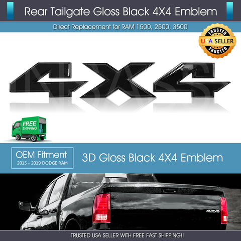 Gloss Black 4X4 Letters Tailgate Emblem fit Rebel 1500 2500 3500 3D Raised Badge