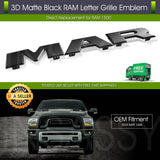 2019 2020 RAM Letter Grille Emblem for 1500 2500 3500 DT Front Matte Black Badge