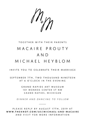 Macaire + Michael Wedding Invitations