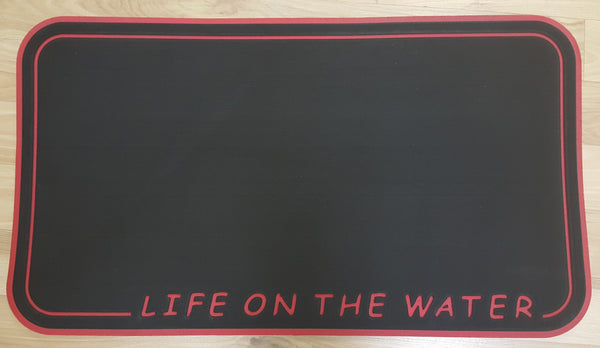 "LIVE2WAKE 23"" Cooler Top ""LifeOnTheWater"" Fits YETI Tundra 45 Midnight Black over Ruby Red"
