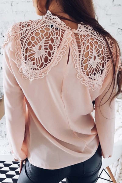Long Sleeve Lace Chiffon Blouse