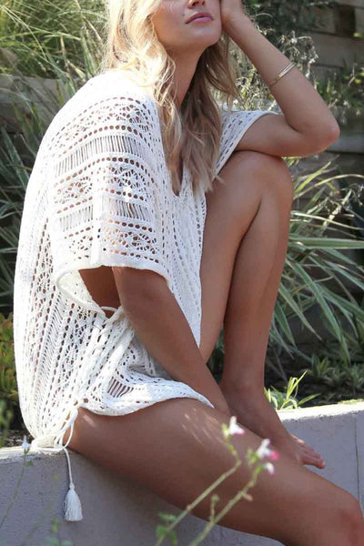 Uneven Hem Crochet Beach Cover Up
