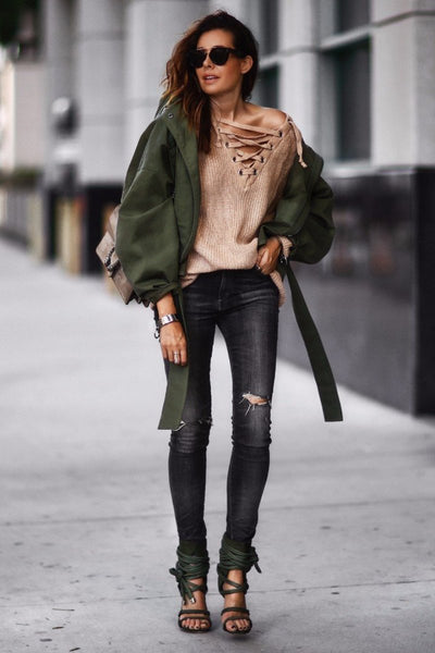 Long Lace Up Knitted Sweater