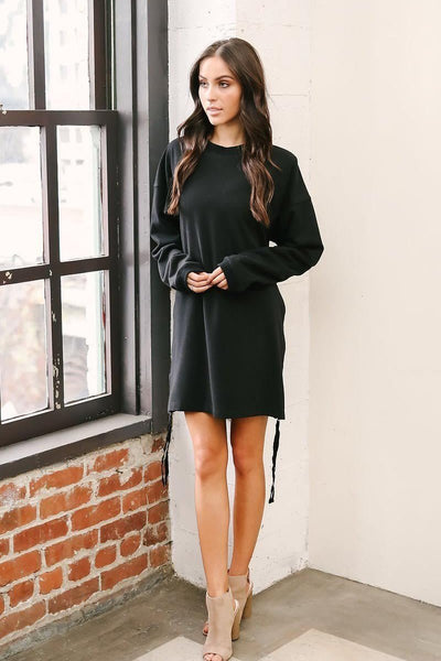Long Sleeve Sweater Zip Dress