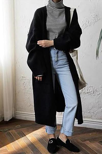 Chunky Oversized Midi Cardigan With Pockets