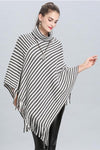 Monochorome Stripe Winter Poncho