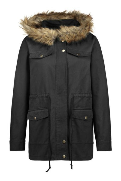 Military Faux Fur Hooded Trench Jacket