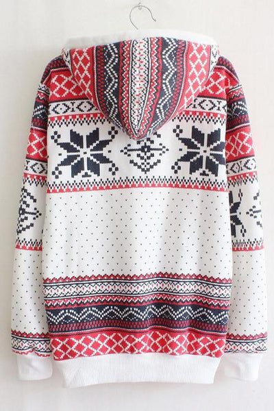 Hooded Snowflakes Sweater