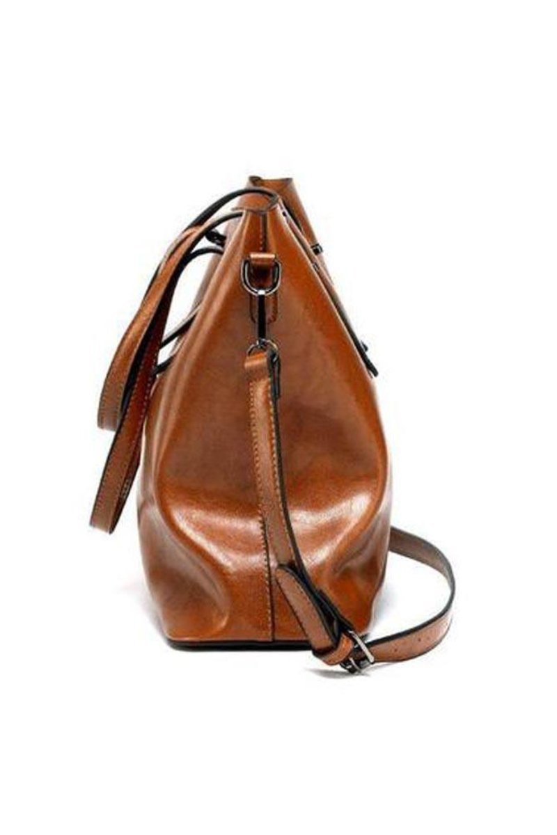 Bonded Leather Shopper Bag-Loosely Store