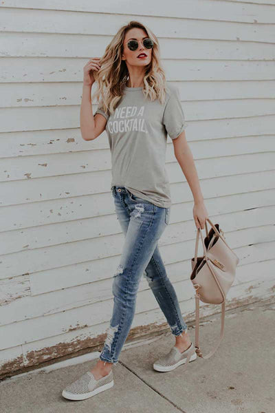 Casual Chic Short Sleeve Loose Letter Printed T Shirt