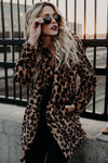 Faux Fur Leopard Print Coat