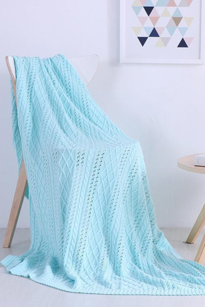 Diamond Twist Cotton Knit Blanket
