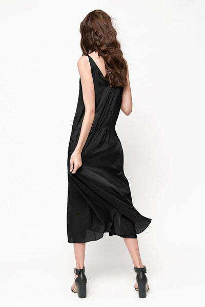 Silky Black Embroidered Maxi Dress