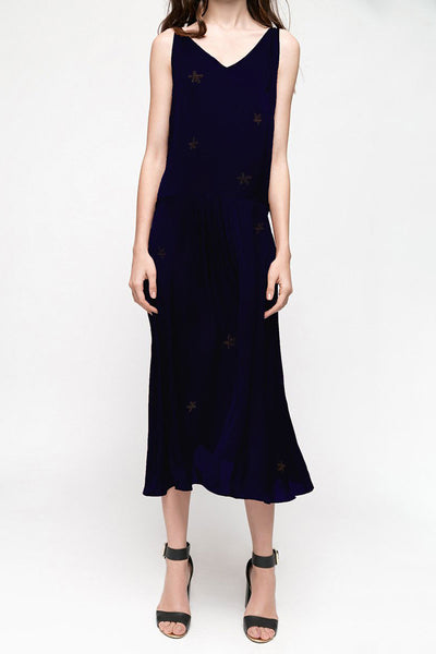 Silky Dark Blue Embroidered Maxi Dress