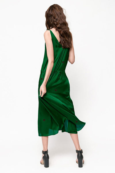 Silky Green Embroidery Maxi Dress