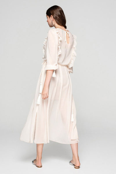 Ivory Viscose Chiffon Embroidery Dress