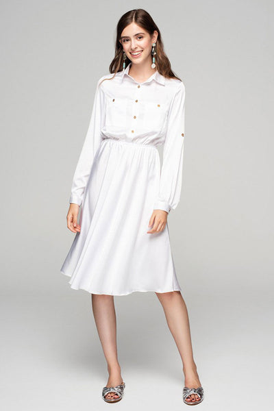 Silky White Shirt Dress