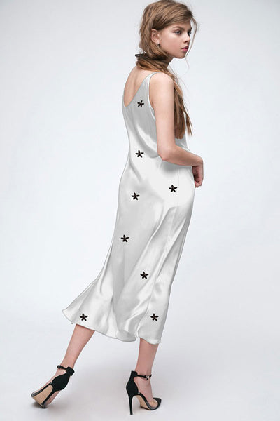 Silky White Embroidery Maxi Dress