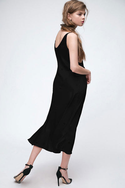 Silky Black Maxi Dress with Embroidery