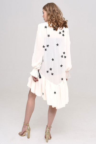 White Viscose Embroidery Dress