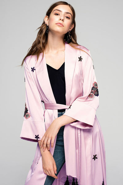 Pink Silky Kimono with Embroidery