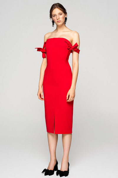 Red Bodycon Ribbon Dress
