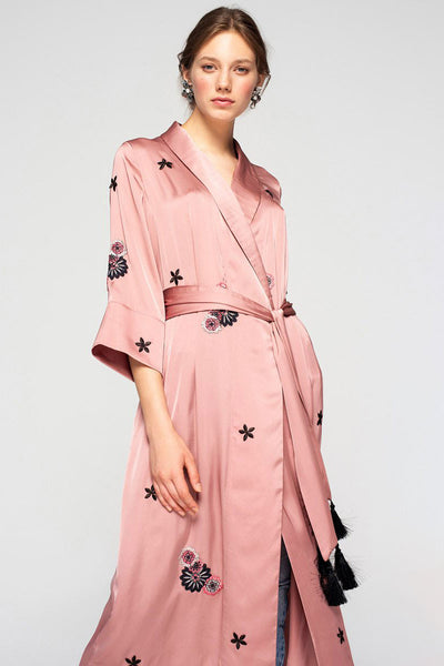 French Rose Kimono with Embroidery
