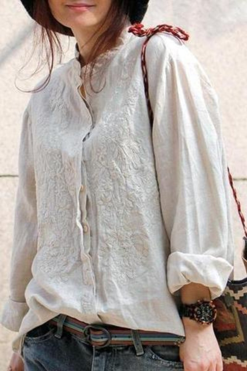 Floral Embroidered Linen Shirt