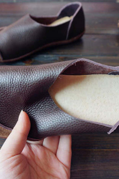 Handmade Leather Round Toe Contrast Flats In Brown