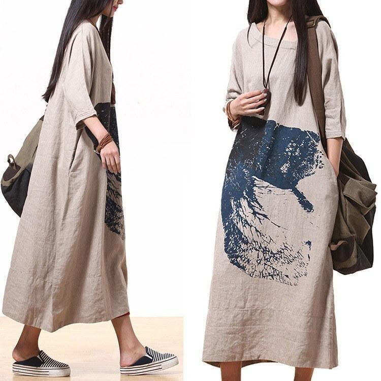 Hokusai Theme Dress-Loosely Store