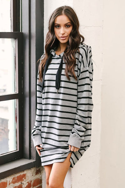 Loose Striped Pullover Mini Dress