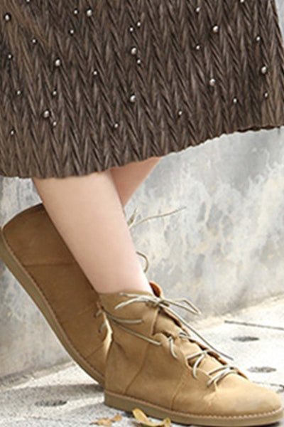 Leather Lace Up Flat Boots