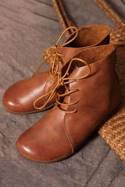 Leather Round Toe Lace Up Boots
