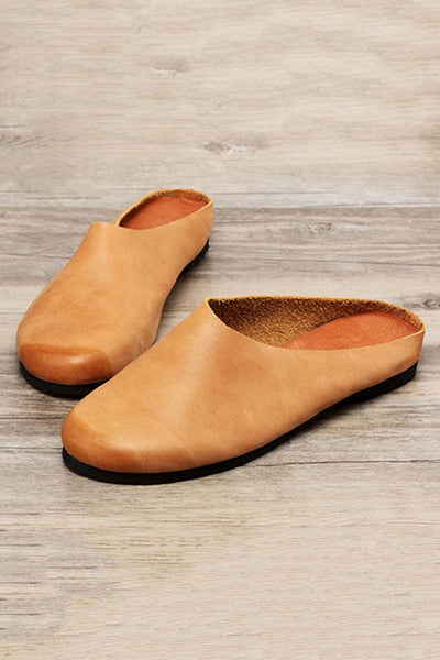 Leather Round Toe Slippers