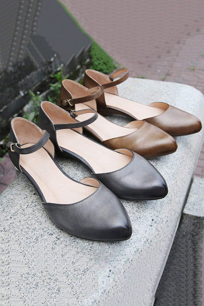 Leather Square Toe Bow Tie Sandals