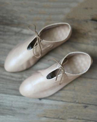Leather Tie Up Ballet Flats