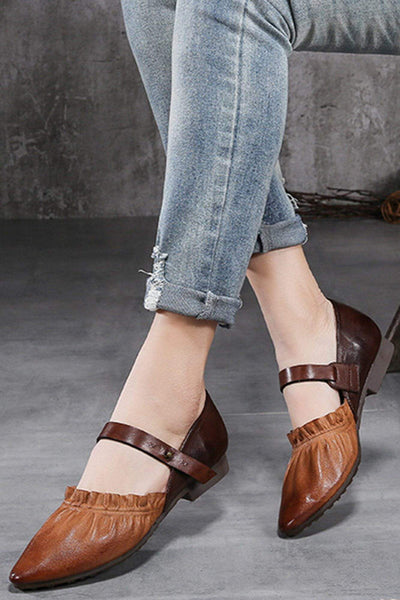 Leather Two Toned Ruffle Flat Sandals