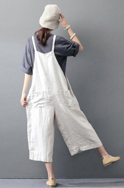 Linen Blend Casual Overalls-Loosely Store