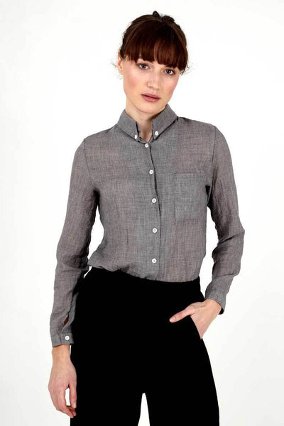 Linen Oxford Blouse-Loosely Store