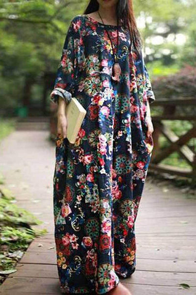 Maxi Floral Dress with Pockets