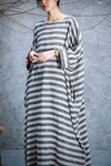 Maxi Striped Linen Dress with Pockets