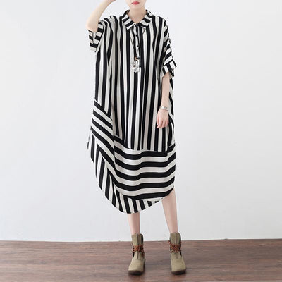 Monochrome Stripe Shirt Dress-Loosely Store