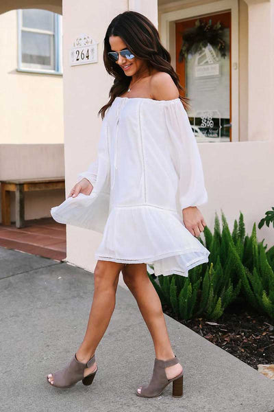 White Sexy Off Shoulder Fashion Mini Dress