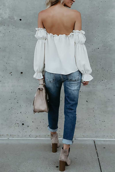 Off-The-Shoulder Chiffon Tie Tank Top